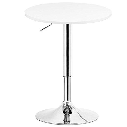 WOLTU Mesa de bar, regulable en altura, 360 grados giratorio, Hecho de MDF, redonda para cocina, bar, Blanco Redondo