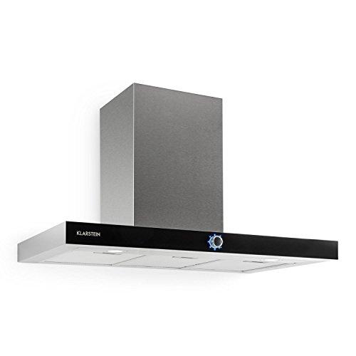 Klarstein Matthea Cappa Aspirante da cucina a parete in acciaio (90 cm, capacità di aspirazione pari a 541 m³/h, illuminazione LED frontale, due filtri al carbone attivo inclusi) - argento