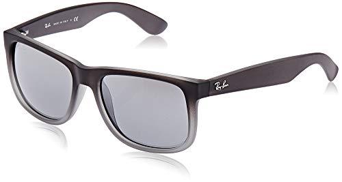 Ray-ban justin occhiali da sole unisex, grigio (montatura: transparent grey rubber, lenti: silber verspiegelt verlauf), 54 mm