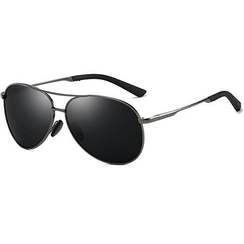 FEIDU Polarisierte Pilotenbrillen Männer Metallrahmen Frauen FD9001 (schwarz/Pistole, 2.28)
