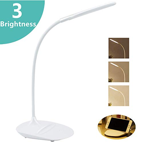 JINPX Luz Lectura Libros Lámpara de Escritorio con 12 LED,3 Niveles de Brillo (Luz blanco),Panel Táctil y 360 ° Flexible luz de libro LED USB Portátil para Lectores, E-Reader, Estudio y Trabajo