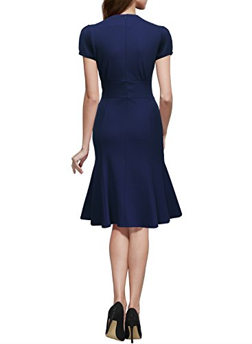 Miusol Damen Sommerkleid V-Ausschnitt Kurzarm 1950er Retro Fishtail?Buero Cocktail Kleid Blau EU 44/XL - 2