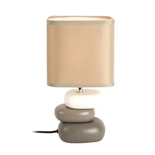 Lampe Galet Hysope Taupe En Céramique Et Coton