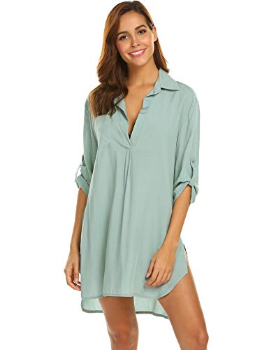 UNibelle Damen Strandkleid Button Transluzent Strand Bikini Cover Up Sommerkleid - Beach Bikini Cover