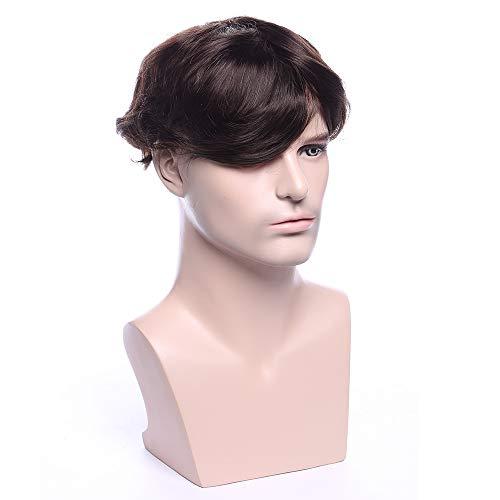 TESS Toupet Echthaar für Männer Extensions Toupee Herren Haarverlängerung Perücken Topper Pony Haarteil Dunkelbraun