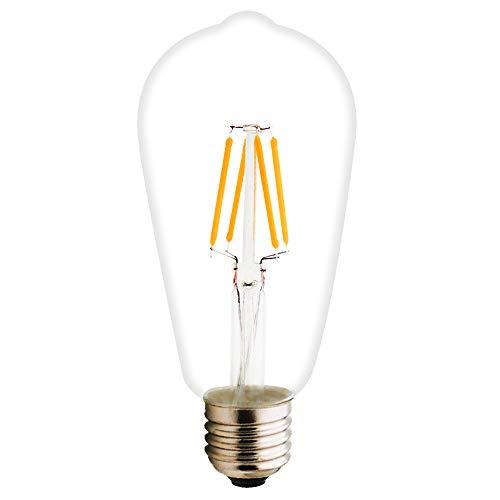 ST64 E27 Vintage Glühbirne, Nicht Dimmbar LED Lampe, 2700K Warmweiß, 360° Abstrahlwinkel, 360 lm, AC 220-240V, Klar Glas Leuchtmittel (ST64, 1 x 4W)
