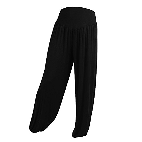 Xmiral Women Pants Elastic Waist Loose Casual Modal Cotton Soft Yoga Sports Dance Harem Pants
