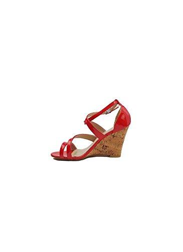 Sandales Compensées Rouge Rouge