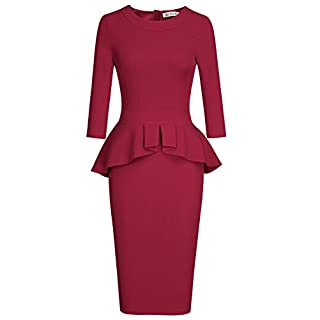 MUXXN Women's Crew Neck Peplum Knee Length Party Pencil Dress - Red -