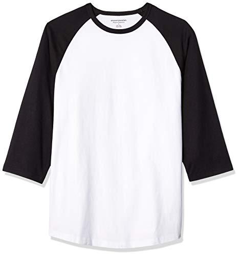 Amazon Essentials Regular-Fit 3/4 Sleeve Baseball novelty-t-shirts, Black/White, US L (EU L) - 3/4 Sleeve Shirt