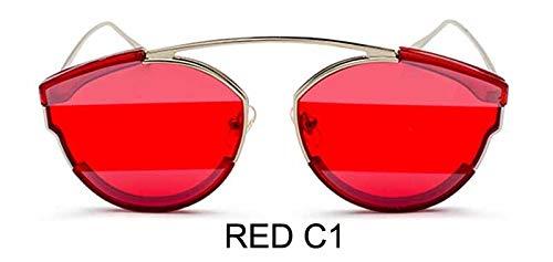 LKVNHP Rot Qualität Sonnenbrille Damen Superstar Eyewear Männer Zonnebril Cobain Vintage Getönte Cat Eye Sonnenbrille Frauen SpiegelWTYJ073 ROT