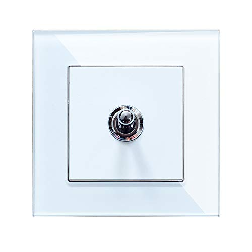 Wallpad Glas weiß Kristall Panel Schalter Steckdose - Toggle 1 Gang 1 Way -