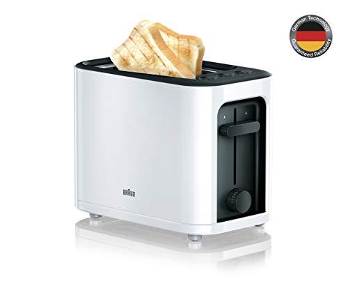 Braun HT3000WH - Tostador pan, 1000 w, 2 ranuras, rejilla desmontable, recogecable, color blanco