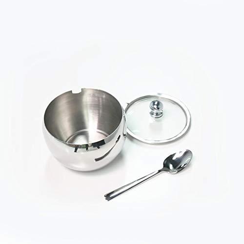 Zuckerdose, Newness Edelstahl Zuckerdose mit Deckel transparent (für besseren Anerkennung) und Zucker Löffel für Haus und Küche, Drum Form Small Size, 240 ML(8.1 OZ or 1 Cup)