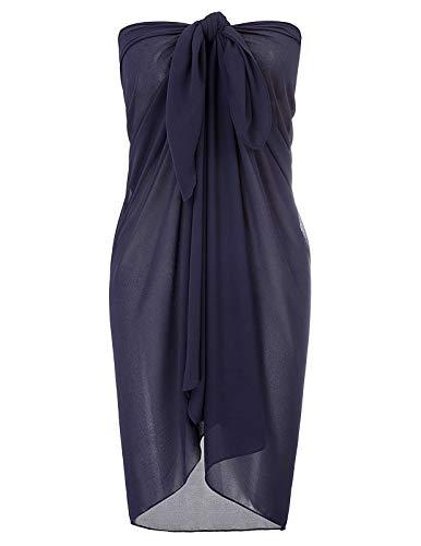Kate Kasin elegant Sarong Pareo Chiffon Strandkleid Wickeln Bademode Badeanzug vertuschen Marineblau