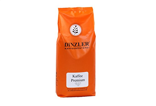 Dinzler Kaffeerösterei - Kaffee Premium - Kaffee | ganze Kaffeebohnen | milder Frühstückskaffee | wenig Säure | 1000g ganze Bohne | Ideal geeignet für Vollautomaten | Hervorragendes Aroma und sehr mild