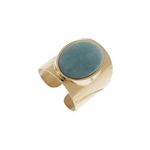Zag bijoux - anello xxl, pietra amazzonite, colore: oro