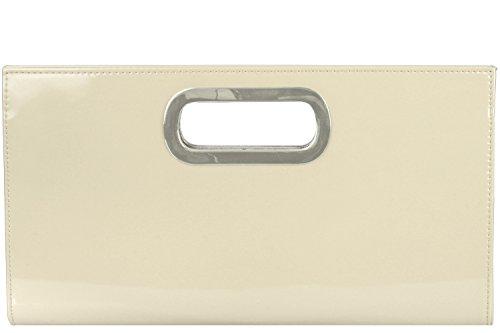 Samantha XL-Clutch/ Abendtasche aus hochwertigem Lederimitat (34bx18hx3t cm), Farbe:Creme