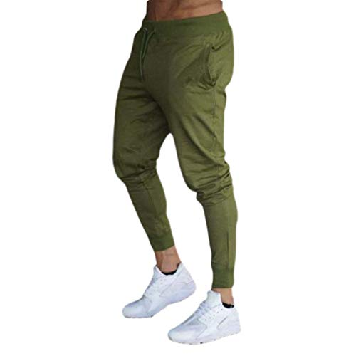 CuteRose Men's Slim-Tapered Trousers Relaxed-Fit Drawstring Sweatpants Green XS Relaxed Fit Pleated Chino-hose