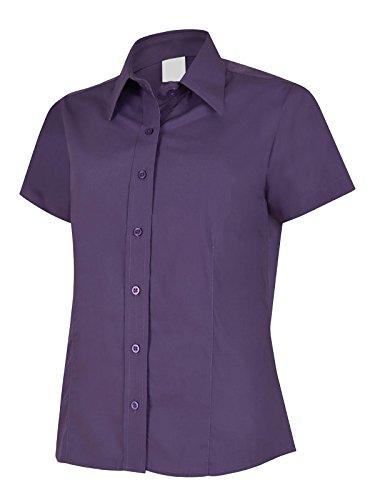 Popeline Uniform (Damen Popeline Shirt Short Sleeve Casual Formale Business Arbeit Uniform Gr. xs, Violett - Violett)