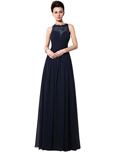Sarahbridal Damen Kleid Blau - Marineblau