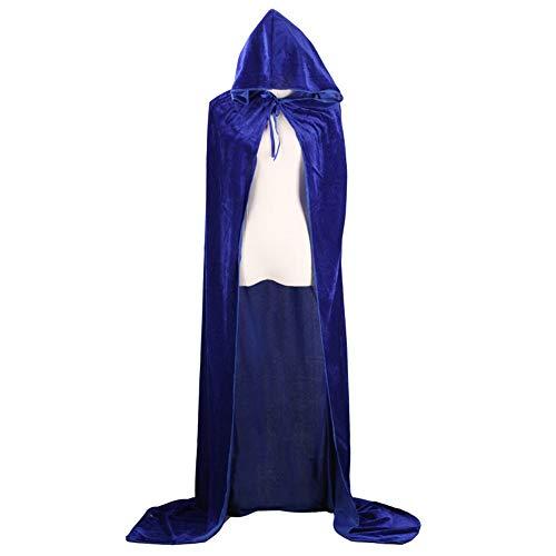 (JYJSYM Halloween, Todesumhang COS Wizard Witch Prince Prinzessin Gold Samt Umhang Umhang, Blau, 150cm)