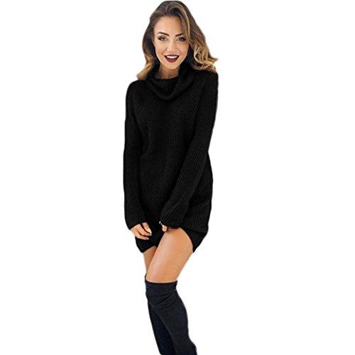 Kleider , Frashing Damen Casual Langarm Pullover Rollkragenpullover Mantel Bluse Kleider Lose großes Kleid (L, Schwarz)