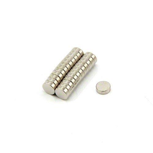 First4magnets F362-25 N42 Neodym-Magneten - 0,73 kg ziehen, Packung mit 25, Metall, silber, 6 mm Durchmesser x 2 mm dicken, 25 x 10 x 3 cm