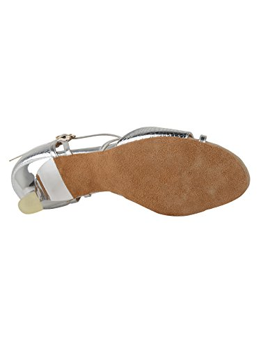 2274 Rumpf Damen Latein Salsa Tango Tanzschuhe Sandale, Kunstleder Chromledersohle Farbe silber glänzend Absatz 5 cm Silber Glänzend