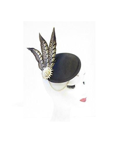 U49 Coiffe/bibi vintage avec plumes de faisan Style année 20 Noir/doré/ivoire