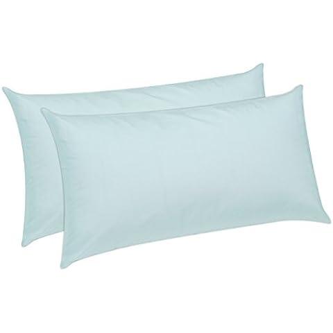 Pikolin Home Anti-ácaros - Almohada de fibra, antiácaros, con funda de 100% algodón, firmeza media, 40 x 80 x 16 cm