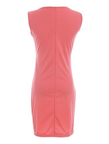 Femme croisé profond col-V Sans manche Vêtement Club Fourreau Robe Rouge Melon D'eau