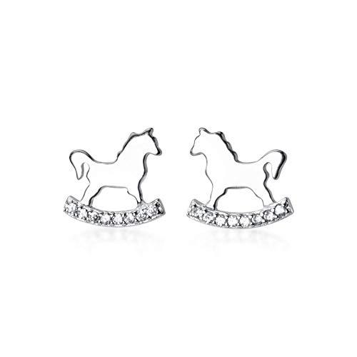 JJLEZl S925 Silber Ohrringe Weibliche Kleine Süße Tier Trojaner Einfache Diamant Student Ohrschmuck (Trojaner Kostüm Männer)