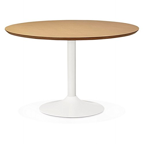 M.K.F. Table de Repas Ronde Design scandinave Galon en Bois et métal Peint (Ø 120 cm) (Naturel, Blanc)
