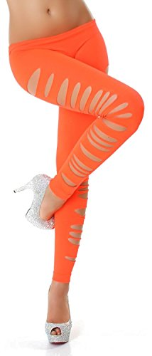 Jela London Damen Leggings Leggins Hose Lang Cutouts Risse Tapered 32,34,36,38 Neon Orange