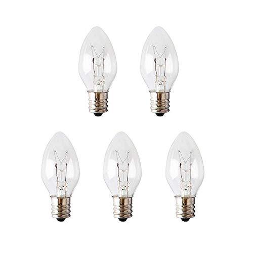 Poweka 5 Stück 15W E-12 Ersatz Salzlampe-Glühbirnen E-12 15Watt Dimmbare Spezial-Leuchtmittel - Plug in Nightlight Warmer Wax Diffusor C7 Ersatzbirnen E12 15Watt 120 Volt -