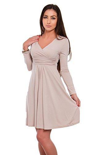 Futuro Fashion Classique & Sensible Femmes Robe Col V Manches Longues Empire 8467 Beige