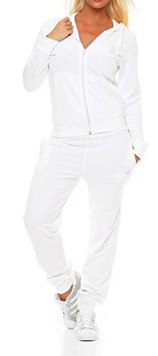 Gennadi Hoppe Damen Jogginganzug Trainingsanzug Sportanzug, weiß,4XL