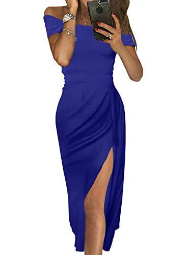 FIYOTE Damen Off Cocktailkleid Shoulder Kleider für Hochzeit Elegant Maxikleider Glänzend Hoch Geschnitten Abendkleider 5 Farbe S/M/L/XL, Lila,...