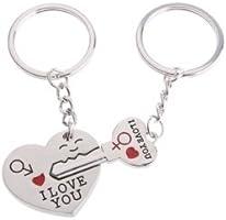 Apollo23 - Key en acier inoxydable à Cupidon Keychain de coeur porte-clés Ensemble pour des amoureux de couples