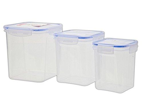 Zadoli Air Tight Locked Virgin Plastic Food Container(1000, 1500, 2500ml, Transparent) - Set of 3