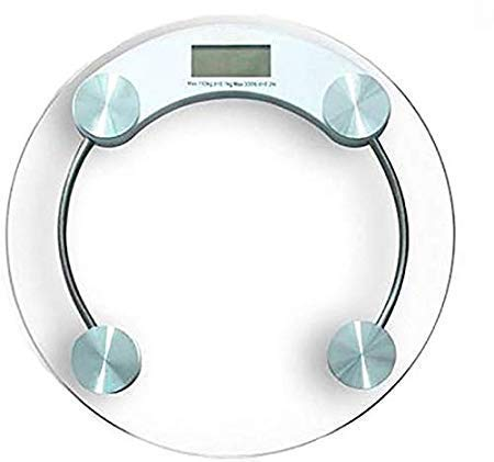 KLP Electronic 8 Mm Round Thick Tempered Glass and LCD Display Digital Weighing Scale