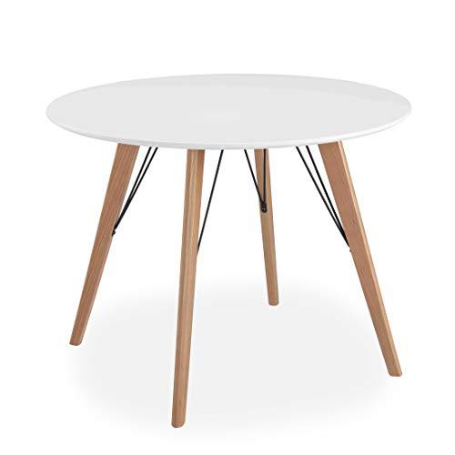 All About Chairs Oslo - Tavolo da Pranzo Rotondo con Piano in MDF e Gambe in Legno, 100 cm, Colore: Bianco