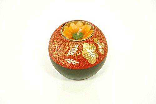 Set de 6 Portavelas Decorativas Naranjas de Madera