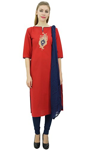 Atasi Pfauenfeder Stickerei Rote Baumwolle Gerade Kurti Damenbekleidung-40 -