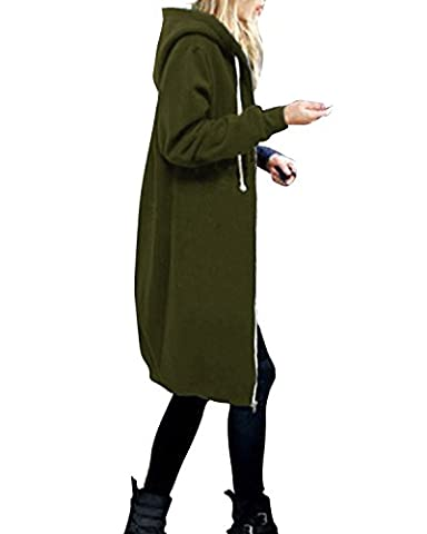 StyleDome Women's Long Sleeve Hooded Hoodies Jumper Warm Cardigan Zip Up Jacket Sweatshirt Oversized Long Coat Army Green UK