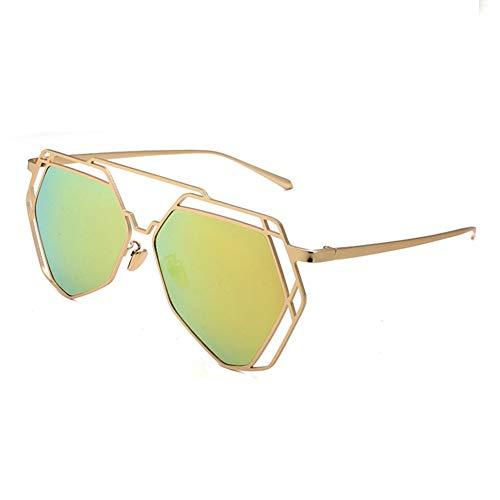 Yuany Sonnenbrille Frau Männer Klassisch Retro Polygonal Spiegel Polarisiertes Licht Sonnenschutz Dekoration Anti-UVA Anti-UV 100% (Farbe: Gelb)