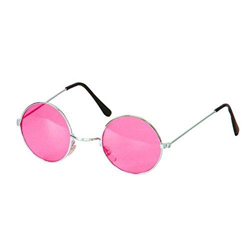 Brille Kostüm - BestMall AC1090/FUSCHIA Brille im Hippie-Stil, Mehrfarbig, one Size