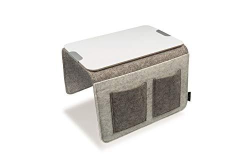 Sofa Butler Carry mit 4 Taschen und Ablageplatte hellgrau/dunkelgrau 201040222-HE (Baumwolle-wolle-halter)