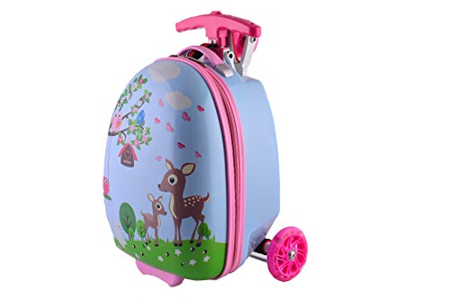 SHINING KIDS Kinder Gepäck Trolley Scooter Hard Shell Koffer Schultasche 16 Zoll,1 -
